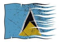 波浪圣卢西亚的旗子和Grunged 向量例证