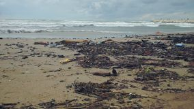 波浪在乱丢滚动在风暴海滩以后在阴暗天空下 影视素材