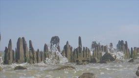 波浪是残破的关于从水的侵蚀的一系列的老木柱子 股票录像