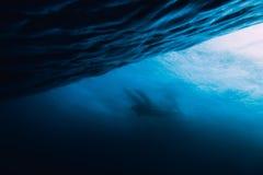 波浪是水下和冲浪者 海滩失败的通知 库存照片