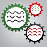波浪标志例证 向量 有象的三个被连接的齿轮 向量例证