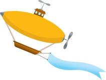 波浪横幅空白的软式小型飞艇 免版税库存照片