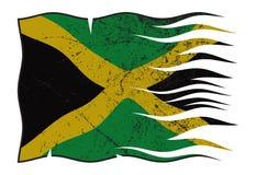 波浪牙买加的旗子和Grunged 向量例证