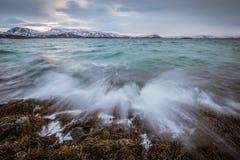 波浪的黎明前照片 库存图片