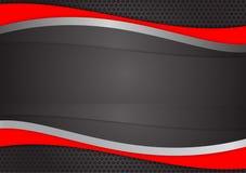 波浪红色和黑抽象传染媒介背景 向量例证