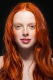 波浪红色头发 库存图片