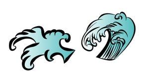 波浪纹身花刺设计孤立传染媒介 库存图片