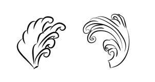 波浪纹身花刺设计孤立传染媒介 免版税库存照片