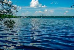 波浪蓝色波纹树荫流动横跨湖哈丽的  库存图片