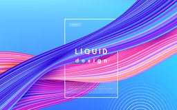 波浪颜色传染媒介背景 液体流程油漆3d设计例证 几何动态波浪颜色墨水艺术概念 皇族释放例证