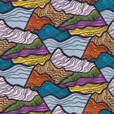 波浪,山峰顶漩涡的无缝的传染媒介样式  五颜六色的手拉的装饰品 向量例证