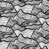 波浪,山峰顶漩涡的无缝的vectori样式  黑白手拉的装饰品 库存例证
