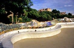 波浪巴塞罗那的长凳s 库存照片