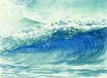 波浪水彩绘画在海 库存例证