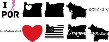 波特兰俄勒冈美国地图和心脏标志 向量例证