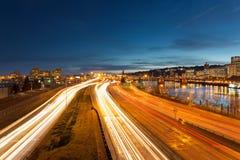 波特兰俄勒冈跨境高速公路光足迹 库存图片
