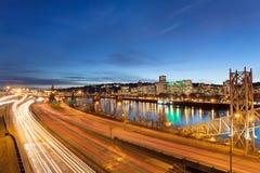 波特兰俄勒冈高速公路光足迹 免版税图库摄影
