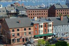 波特兰历史的前面街道和旧港口,缅因,美国 库存图片