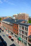 波特兰历史的街市,缅因,美国 免版税库存图片