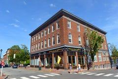 波特兰历史的街市,缅因,美国 库存图片