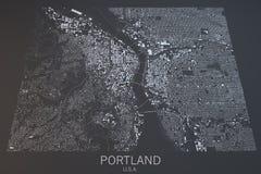波特兰地图,卫星看法,美国 免版税库存图片