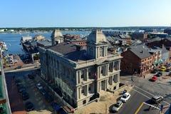 波特兰旧港口和海关,缅因,美国 库存照片