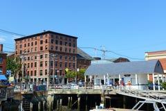 波特兰旧港口和长的码头,缅因,美国 库存照片