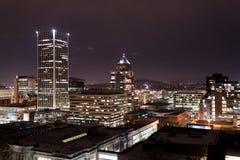 波特兰街市在晚上 库存照片