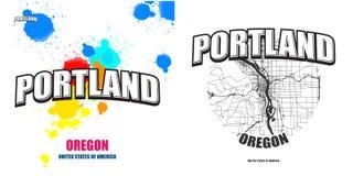 波特兰,俄勒冈,两件商标艺术品