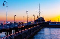 索波特码头在黎明 免版税库存照片