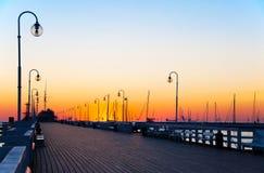 索波特码头在黎明 库存图片
