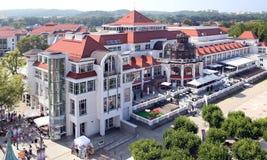 索波特,波兰。在波儿地克的海边附近的旅游业中心 免版税图库摄影