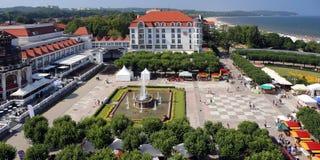 索波特,波兰。在波儿地克的海边附近的旅游业中心 免版税库存照片
