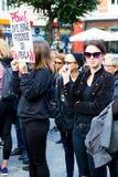 索波特,波兰, 2016 09 24 -抗议反对反对堕胎法律fo 免版税图库摄影