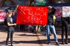 索波特,波兰, 2016 09 24 -抗议反对反对堕胎法律fo 免版税库存图片