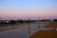 波瓦-迪瓦尔津,葡萄牙,第二天是道路通往孔波斯特拉的圣地牙哥 库存照片