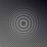 波纹作用顶视图 透明水下落圆环 在方格的backgr隔绝的圈子声波 皇族释放例证