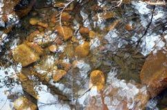 波纹和反射在一个有卵石花纹的池塘 库存照片