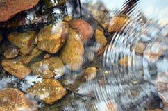 波纹和反射在一条浅小河 免版税库存照片