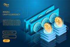 波纹和Ethereum cryptocurrencies的过程开采 Blockchain技术 库存图片