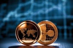 波纹在财政图的cryptocurrency硬币 库存照片