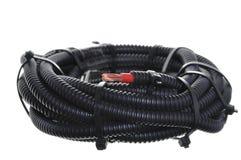 波纹状的管道卷电缆保护的与红色一 免版税图库摄影
