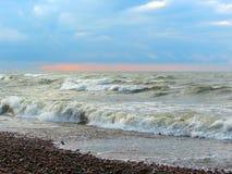 波罗的海海岸大风天,立陶宛 免版税图库摄影
