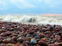 波罗的海海岸大风天,立陶宛 免版税库存照片