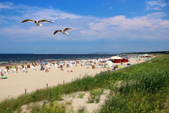 波罗的海海滩在Swinoujscie,波兰 免版税库存图片