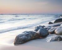 波罗的海的美丽的景色波兰镇的Rozewie 库存图片