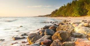 波罗的海的美丽的景色波兰镇的Rozewie 库存照片
