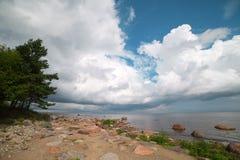 波罗的海, Mersrags,拉脱维亚海岸。 免版税图库摄影