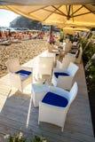 波西塔诺海滩的-阿马尔菲海岸,意大利餐馆 免版税库存照片