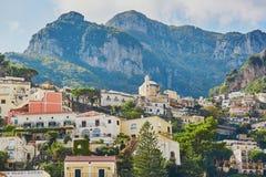 波西塔诺,意大利风景看法  库存照片